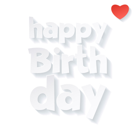 Vector white happy birthday card with heart and greeting text
