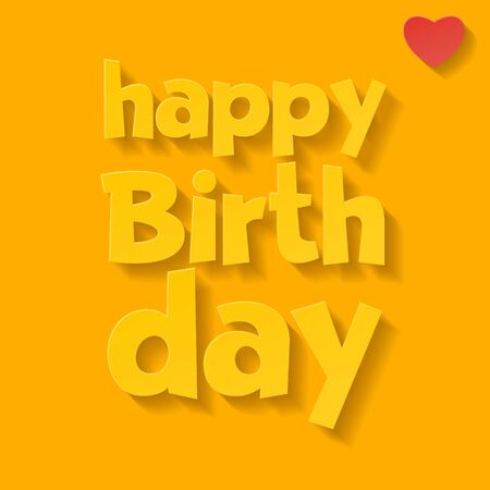 Vector happy yellow birthday card with heart and greeting text