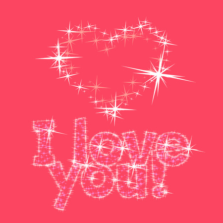 shiny heart: Vector pink greeting card for St Valentines Day with shiny heart and text I love you from stars