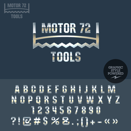 troubleshooting: Silver retro logo for motor service. Vector set of letters, numbers and symbols.