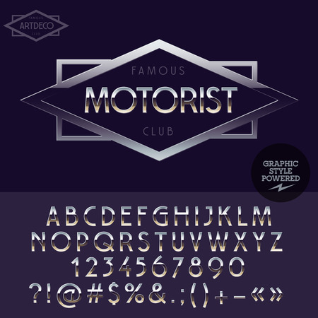 elite: Silver elite logotype for motorbike club. Vector set of letters, numbers and symbols.