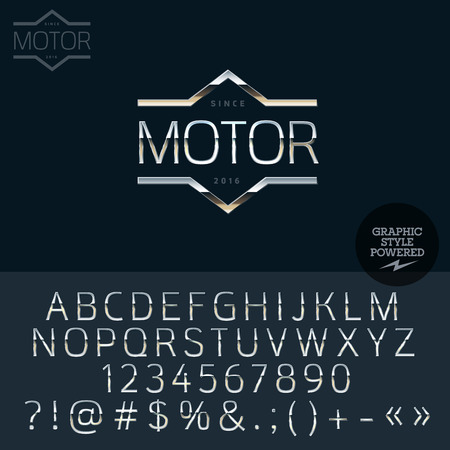 prestige: Silver logotype for luxury car shop. Vector set of letters, numbers and symbols.