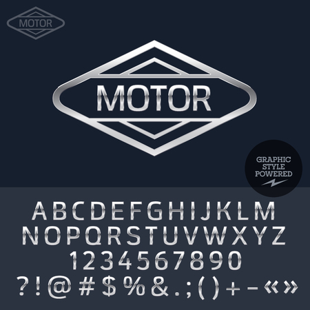 Silver logo for motorbike and car shop. Vector set of letters, numbers and symbols. Ilustrace