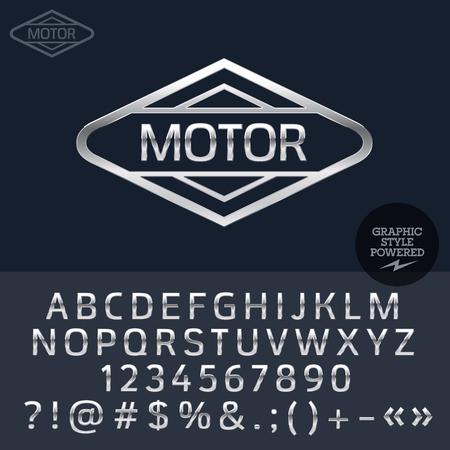 Zilveren logo voor motor en auto-winkel. Vector set van letters, cijfers en symbolen.