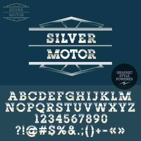 virile: Retro silver logo for motorbike bar. Vector set of letters, numbers and symbols. Illustration