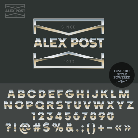 brassy: Glossy vector set of metallic letters, numbers and symbols.