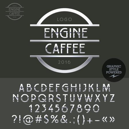 letras cromadas: logotipo de cromo de energía para la barra de la moto. Vector conjunto de letras, números y símbolos. Vectores