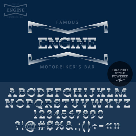 Chrome logotype for retro motor show. Vector set of letters, numbers and symbols.