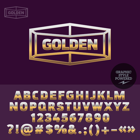 high fashion: Golden sign for high fashion store. Vector set of letters, numbers and symbols.