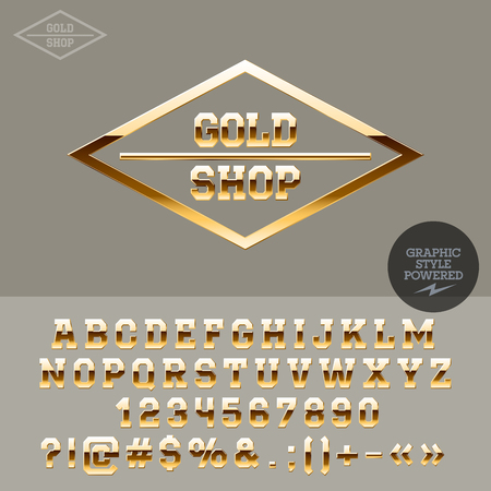 Gold text for jewellery store. Vector set of letters, numbers and symbols.