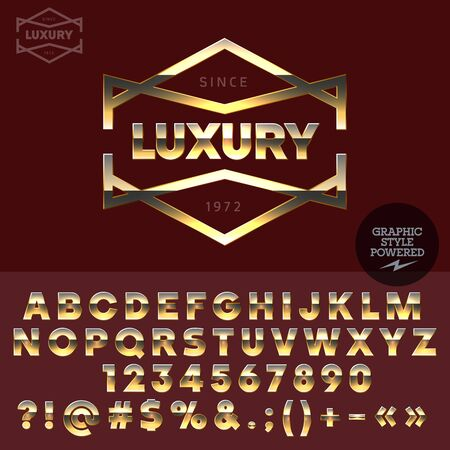 golden symbols: Golden text for luxury social club. Vector set of letters, numbers and symbols.