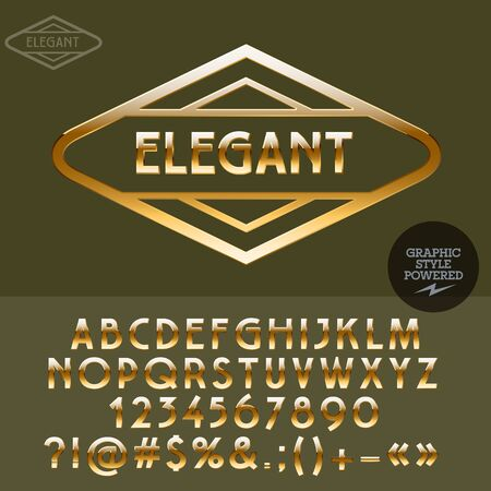Gold text type for luxury showroom. Vector set of letters, numbers and symbols Illusztráció