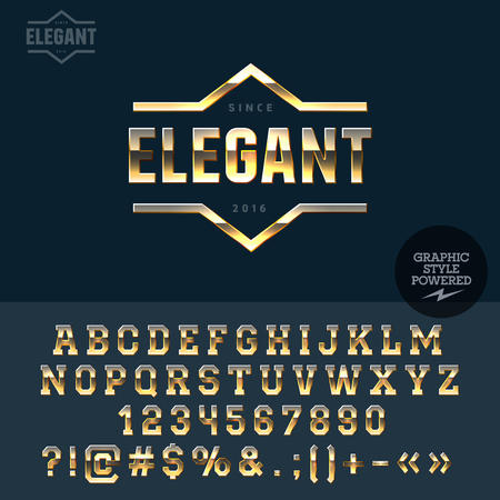 Golden emblem for deluxe shop. Vector set of letters, numbers and symbols.