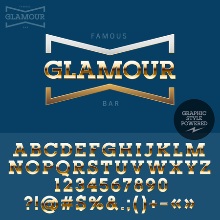 Golden emblem for luxury store. Vector set of letters, numbers and symbols. Illusztráció