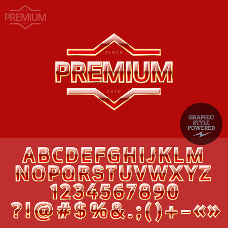 golden symbols: Golden logotype for high fashion store. Vector set of letters, numbers and symbols. Illustration