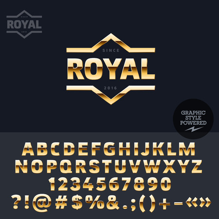 golden symbols: Golden logotype for vip club. Vector set of letters, numbers and symbols.