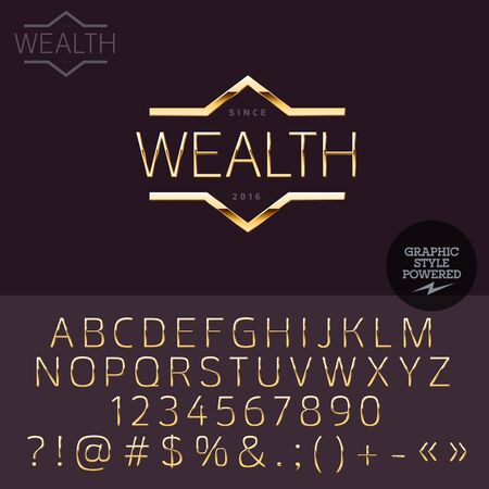 elite: Gold type for luxury social club. Vector set of letters, numbers and symbols.