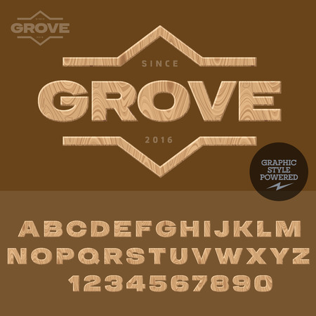 coppice: Wood type for for woodcutting industry. Vector set of letters and numbers.