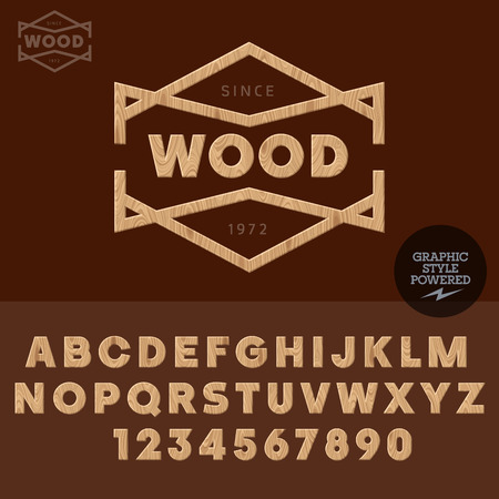 carver: Wooden type wood work and shop. Vector set of letters and numbers Illustration