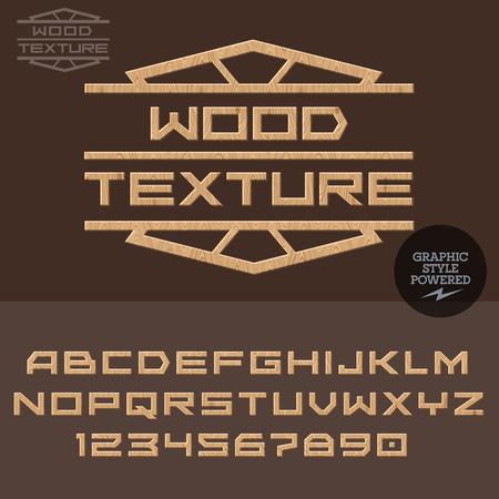 木と仕事のための木製のタイプ。文字と数字のベクトルを設定  イラスト・ベクター素材