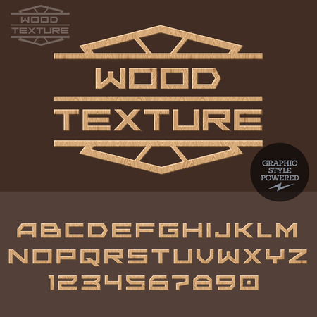 woodworking: Wooden type for work with wood. Vector set of letters and numbers