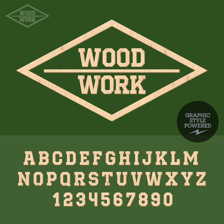 木工の木製のエンブレム。文字と数字のベクトルを設定