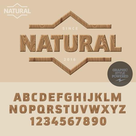 Type de bois pour un magasin de produits biologiques et naturels. Vector ensemble de lettres et de chiffres Vecteurs