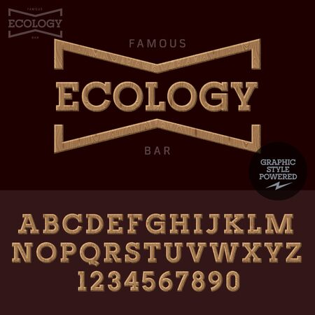 Wood emblem for organic and ecologic product store. Vector set of letters and numbers 일러스트