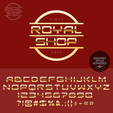 Gold type for luxury jewellery store. Vector set of letters, numbers and symbols. Illusztráció