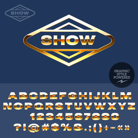 showroom: Golden type for elite fashion store or showroom. Vector set of letters, numbers and symbols
