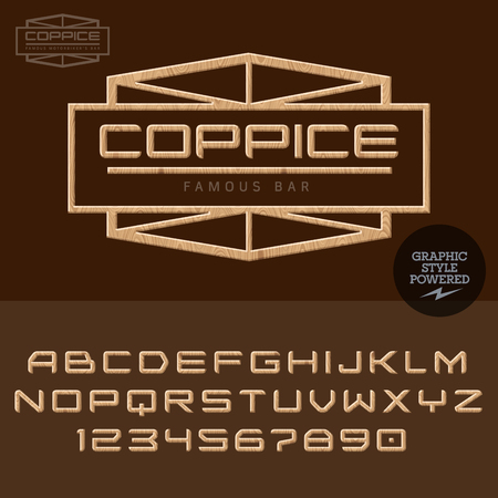 coppice: Wood for for woodcutter activity. Vector set of letters and numbers