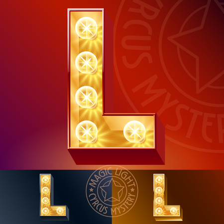 Fantastic light up font with lamp. Letter L