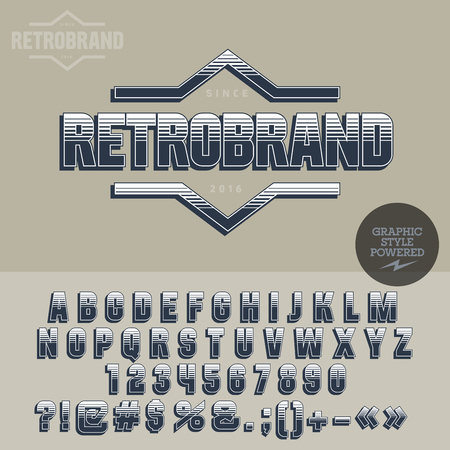 Retro styled for vintage shop. Vector set of letters, numbers and symbols. 일러스트