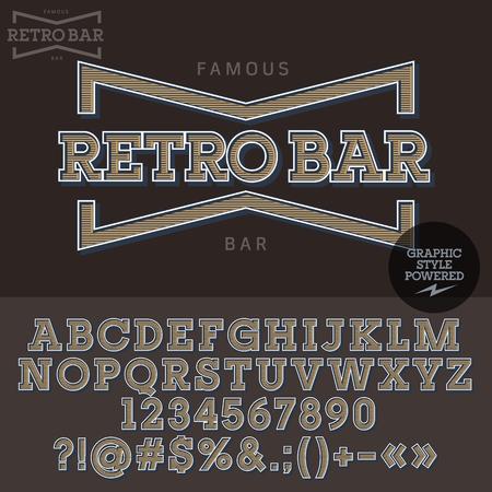 retro badge: Vintage emblem for retro bar. Vector set of letters, numbers and symbols. Illustration