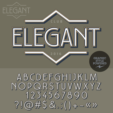 Retro emblem for luxury vintage shop. Vector set of letters, numbers and symbols. 일러스트