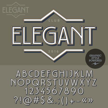 signboard: Retro emblem for luxury vintage shop. Vector set of letters, numbers and symbols. Illustration