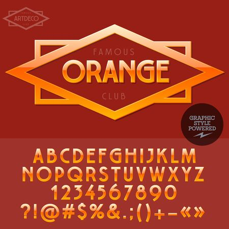 ecologic: Orange emblem for organic and ecologic product store. Vector set of letters and numbers