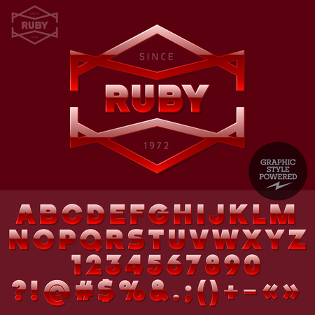 ruby: Ruby plastic emblem for jewellery store. Vector set of letters, numbers and symbols