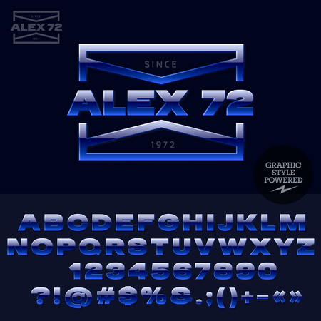 Blue glossy emblem for elite rockers club. Vector set of letters, numbers and symbols