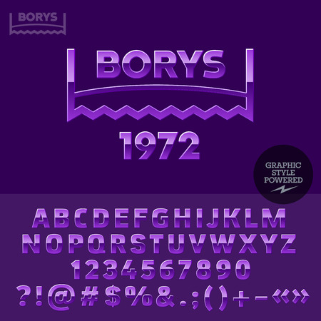 virile: Purple glossy plastic emblem for woodcutter social club. Vector set of letters, numbers and symbols