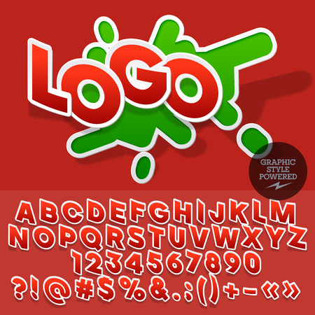Sticker style emblem for clothing store. Vector set of letters and numbers