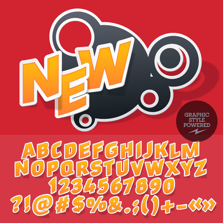 Sticker style emblem for fashion store. Vector set of letters and numbers