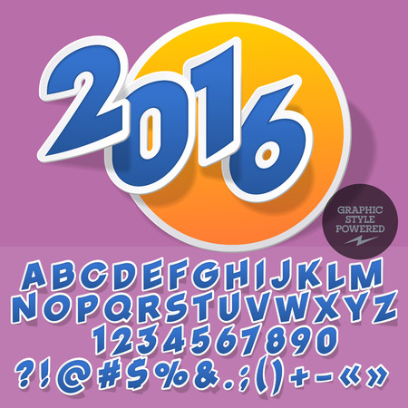 tour operator: Sticker styled emblem for tour operator. Vector set of letters and numbers