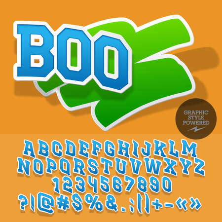 ecologic: Fresh sticker style emblem for organic, ecologic store. Vector set of letters and numbers