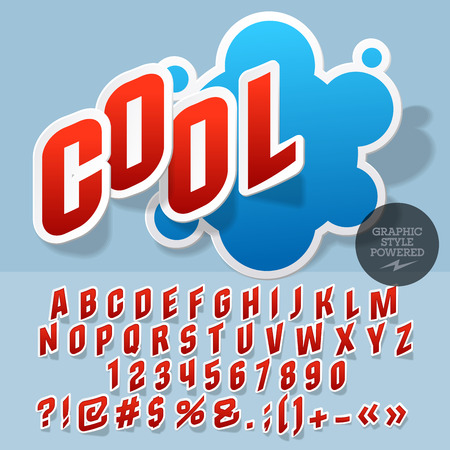 comerce: Sticker style emblem for toy store. Vector set of letters and numbers