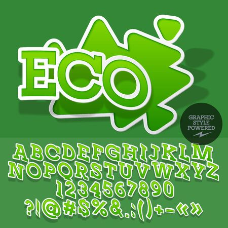 Sticker style emblem for organic and ecologic product shop. Vector set of letters and numbers