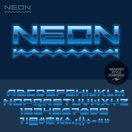electronics store: Techno style glossy label for computer club, Internet cafe, electronics store, night club, technology activity. Vector set of letters and numbers Illustration