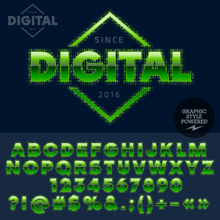 computer club: Techno style glossy emblem for computer club, Internet cafe, electronics store, night club, technology activity. Vector set of letters and numbers