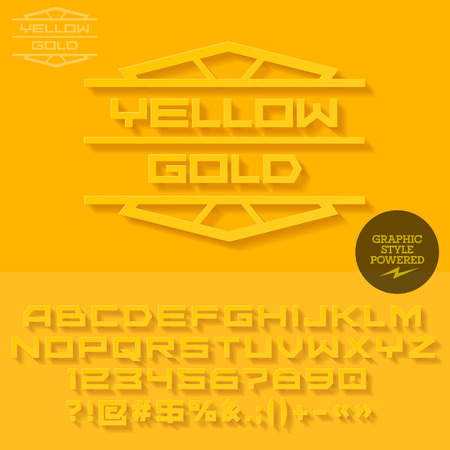 Yellow emblem with shadow for jewellery store. Vector set of letters, numbers and symbols
