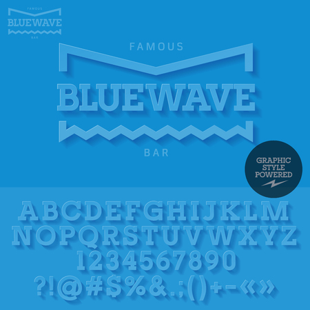 Blue mat emblem with shadow for yacht club. Vector set of letters and numbers